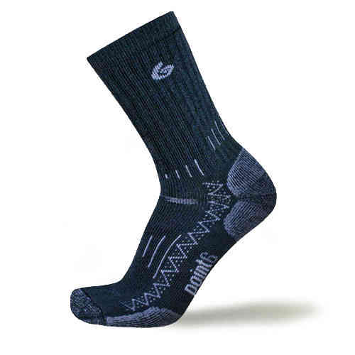 Point 6 Trekking Tech Heavy Crew Socks Black